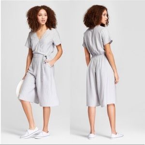 A NEW DAY Gray/white check culottes jumpsuit